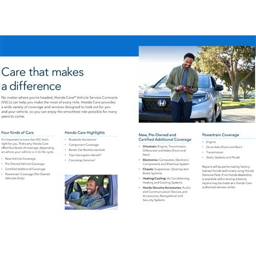 honda care documents brochures contracts application